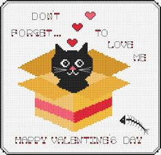 Valentine Cat free cross stitch pattern