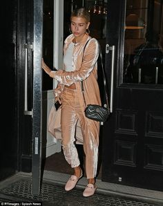 Just peachy: Dressed in a peachy velour ensemble, Hailey recently wrapped filming the widely anticipated addition to the series, Ocean's Eight