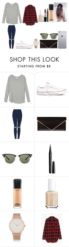 """""""Untitled #436"""" by kalieh092 on Polyvore featuring Converse, Topshop, Givenchy, Ray-Ban, Marc Jacobs, MAC Cosmetics, Essie, Larsson & Jennings and Madewell"""