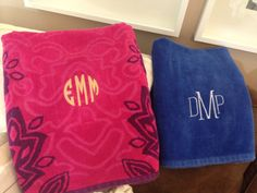 His and hers monogrammed beach towels!