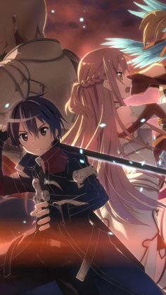This HD wallpaper is about Sword Art Online, Agil (Sword Art Online), Asuna Yuuki, Kirito (Sword Art Online), Original wallpaper dimensions is file size is Schwertkunst Online, Arte Online, Online Anime, Art Anime, Anime Kunst, Manga Anime, Anime Dvd, Anime Hair, Sword Art Online Kirito