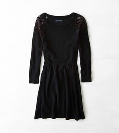 Black AEO Lace Shoulder Sweater Dress