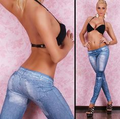 2015 New Fashion Women Sexy Tattoo Jean Look Legging Punk Print American Apparel Jeans Woman Pants 9048