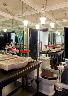 Mirrored bathroom walls