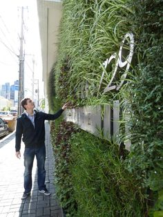 The Designer and his Vertical Garden! Vertical Planting, Vertical Garden Design, Vertical Gardens, Landscape Elements, Landscape Architecture, Vertical Green Wall, Green Facade, Wall Exterior, Garden Living