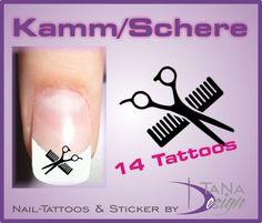 Nail-Art-Sticker-Nail-Tattoo-Kamm-Schere-Friseur-Haare-14-Stueck-NEU