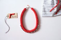 Red Necklace Fabric necklace Textile necklace by KnotMyself