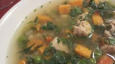 This traditional Peruvian soup contains large pieces of chicken breast and potato cooked with peas, corn, and red pepper. It is a light version of the Peruvian Chicken Chowder (Chupe de Pollo).