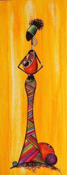 No artist found, African Arte Tribal, Tribal Art, Black Art Painting, Fabric Painting, Afrique Art, African Art Paintings, Arte Country, Art Premier, Afro Art