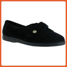 Mirak Andrea Touch Fastening Slipper / Womens Slippers / Ladies Slippers (8 US) (Black) - Slippers for women (*Amazon Partner-Link)