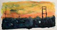 Acuarela - Escenas nocturnas de ciudad, El atardecer de cables. Watercolor - Night city scenes, The wired sunset. HMZEN'14