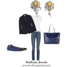 """""""Wearing Statement Earrings Anytime"""": When you add a blazer and statement earrings to blue jeans and a tee shirt, you can go just about anywhere."""