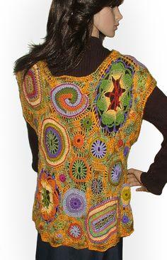 designer renate kirkpatrickWoman's Top Vest Blouse Freeform Crochet OOAK Wearable Art, - Mexican Fiesta. $290.00, via Etsy.
