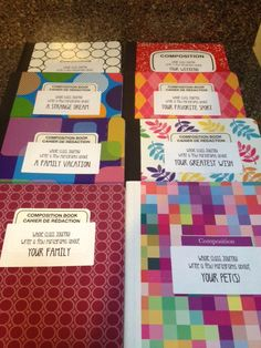 8 whole class journals for the students to write in. Select 8 students each week to write in one of the journals. The next week, 8 different children will be selected to write, and so on. By the time were finished, each journal should have about 25 different entries written in them. Students will be able to read what their classmates have written as well.