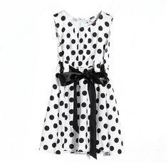 ZANZEA Girls Kid Princess Polka Dot Bowknot Sleeveless Summer Dress White Size 140