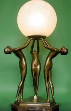 """Art deco bronzed spelter figure """"lady"""" lamp, featuring 3 semi-naked young women, supporting and gazing at an original period shade, the spelter patinated and gilded. This is a rare triple figure spelter lamp, in good original condition. Lampe Art Deco, Deco Luminaire, Art Deco Stil, Art Deco Era, Art Nouveau, Antique Lamps, Vintage Lamps, Antique Lighting, Vintage Art"""
