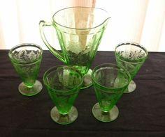 Green-Depression-Glass-Pitcher-w-Tumblers-Floral-Poinsettia-5-pcs
