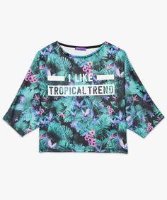 Tee-shirt motif imprimé tropical Vert