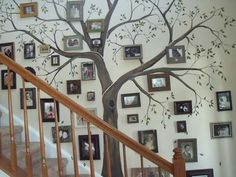 I've wanted to do a family tree wall for awhile. I lack this person's artistic skill, so I would either need to hire an artist or buy a stencil for the tree part.