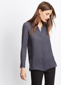Classic Silk Long Sleeve Button-Down