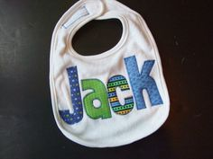 Personalized Baby Bib Appliqued in blues by TriedAndTrueDesigns