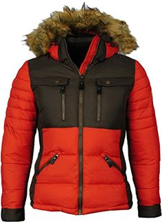 Angel Cola Womens Down Coats Fur Hooded Parka Jacket Red M * Click image to review more details.