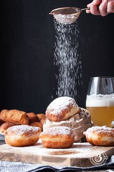 "Bomboloni alla Crema - Italian fried donuts filled with pastry cream and coated with caster sugar. Get the recipe <a href=""http://www.manusmenu.com/bomboloni-alla-crema"">HERE</a>."