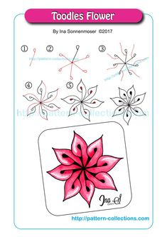 Toodles Flower ~ a cute, stand-alone doodle/Zentangle that looks awesome in color!