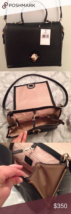 """NWT Kate Spade Varick Street Abbie NWT Kate Spade Varick Street Abbie: 9.6""""h x 11.1""""w x 4.5""""d. Drop length: 4.7"""" handheld. Total strap length: 39.4"""". Soft, smooth leather, capital kate jacquard lining, 14-karat light gold plated hardware. Satchel with turnlock closure & removable cross body strap, 2 interior slide pockets, 1 interior zipper pocket, & expandable zipper gussets, comes with dust bag. Such a cute bag! No trades. Make offers! kate spade Bags Satchels"""