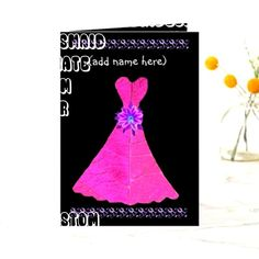 Customizable Folded Invitation made by Zazzle Invitations. Bridesmaid Cards, Be My Bridesmaid, Wedding Bridesmaids, Pink Wedding Dresses, Pink Gowns, Date Squares, Wedding Roles, Pink Cards, Funny Greeting Cards