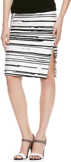 Piazza Sempione Striped Side-Zip Pencil Skirt, White/Black
