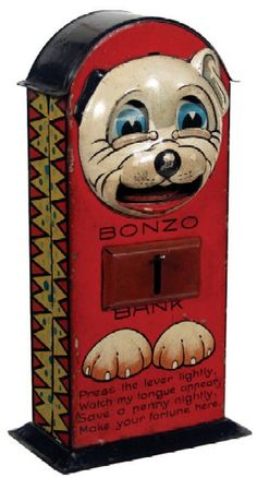 1930s Bonzo Mechanical Bank Learn about your collectibles, antiques, valuables, and vintage items from licensed appraisers, auctioneers, and experts. Free Antique Roadshow Appraisal Events at BlueVault http://www.BlueVaultSecure.com/roadshow-events-bluevault-san-diego.php