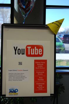As part of the Logan Library Centennial Celebration on March 18, 2016 we celebrated the 2010s. Among many displays was our display about the Logan Libraries awesome YouTube videos.