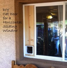 DIY blog with easy ideas! Build your own cat door for a horizontal sliding window.