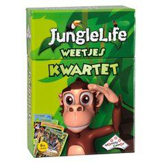 Kwartetten, nu met prachtige foto's en leuke feitjes over de vele bijzondere dieren uit de jungle. Hoe hard kan bijvoorbeeld een poema lopen? Hoe zwaar is een chimpansee? Hoe groot is een vogelspin? Inhoud: 38 grote speelkaarten en spelregels. Geschikt voor 2-4 spelers vanaf 6 jaar. Afmeting: 9 x 13,5 x 3 cm - Junglelife Weetjes Kwartet