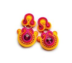 Hey, I found this really awesome Etsy listing at https://www.etsy.com/listing/196864775/rainbow-soutache-earrings-vivid-colors