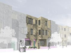 Note the shutters - Scotswood Expo housing design competition proposes an updating of the terrace house for the 21st century @FATArchitecture