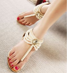 Fashion Pearl Sandals For 2015 2016 Womens Shoes Trends Cute Sandals, Wedge Sandals, Shoes Sandals, Women Sandals, Flat Shoes, Shoes Women, Pretty Sandals, Strap Sandals, Buy Shoes