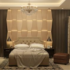 A simple Beige bedroom with a quirky wall accent