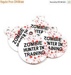 ON SALE Zombie Dog or Cat Pet ID Tags Zombie Hunter in by BadTags