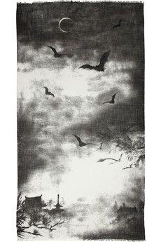 Horiyoshi the ThirdMoon Bat printed silk & cashmere-gauze scarf