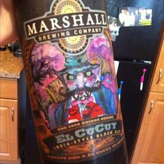 Marshall Brewing Company El Cucuy, an India-style black ale. Can't get in AZ, and very tasty! picture of man in hat with black mustache, Cocktail Drinks, Alcoholic Drinks, Cocktails, Alcohol Recipes, Beer Label, Brewing Company, Root Beer, Hats For Men, Ale