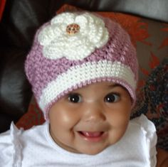 Crochet Baby/Girl Hat. $22.00, via Etsy.
