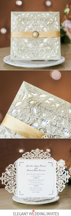 Luxurious gold glittery laser cut wedding invites with pearl embellishment