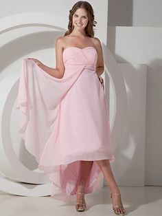 2016 High Low Pink Bridesmaid Dresses Chiffon Sweetheart Emprie Maternity Wedding Party Gowns Custom Made Real Images bd4382(China (Mainland))