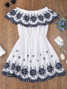 Off Shoulder Embroidered Cover Up Dress - White M Girls Fashion Clothes, Teen Fashion Outfits, Outfits For Teens, Girl Fashion, Fashion Dresses, Crop Top Outfits, Cute Casual Outfits, Cute Summer Outfits, Dress Outfits