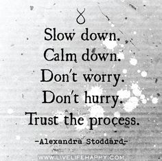 Slow down. Calm down. Don't worry. Don't hurry. Trust the process. -Alexandra Stoddard #TrustTheProcess