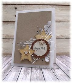 card star stars card with stars and doily - carte Noel étoiles et Christmas Card Crafts, Christmas Scrapbook, Stampin Up Christmas, Noel Christmas, All Things Christmas, Handmade Christmas, Holiday Cards, Christmas Greetings, Paper Cards