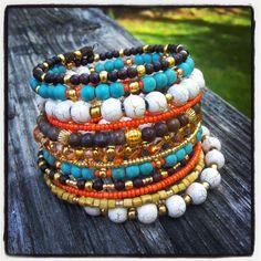 Beaded Boho Wrap Bracelet Turquoise Bracelet by jbyjosephine, $35.00