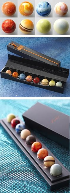 Planetary Chocolates. Chocolate ideas from Japan! #fooddesign #fooddesignreview